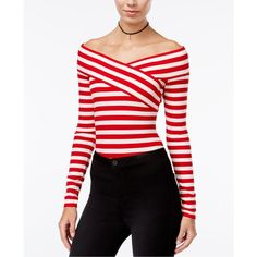Material Girl Juniors' Striped Off-The-Shoulder Bodysuit, ($40) ❤ liked on Polyvore featuring intimates, shapewear and lipstick red