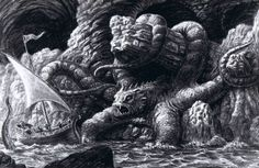Kraken drawing by Ray Harryhausen Gustave Dore, Release The Kraken, Clash Of The Titans, Mysterious Girl, Creature Drawings, Sinbad, Stop Motion, American Artists, Fantasy Art