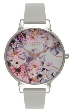 Main Image - Olivia Burton Enchanted Garden Leather Strap Watch, 38mm