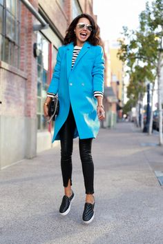 RP: SAN DIEGO BLUES - VivaLuxury  Slip on sneaks and sharp blue coat. I love it!