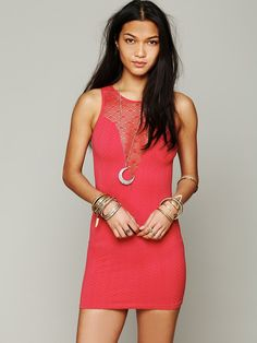 Free People Deep V Textured Bodycon, $68.00