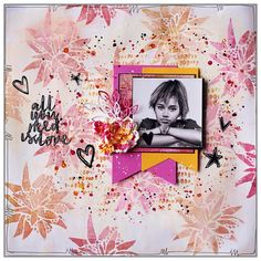Layout for The Crafter's Workshop using stencils for the background Crochet For Beginners, Beautiful Words, Stencils, Workshop, Layout, Projects, Scrap, Designers, Art