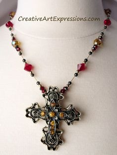 Sold $25.00 Creative Art Expressions Handmade Red & Gold Cross Necklace Jewelry Design