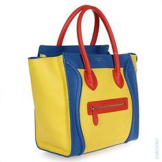 Сумка Celine Luggage из натуральной кожи с внешним карманом на молнии разноцветная