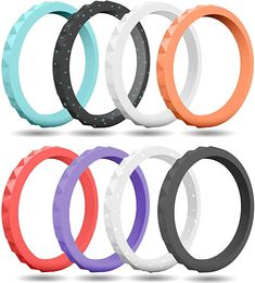 FluxActive Silicone Wedding Ring for Women Pack) Stackable Thin Rubber Bands - Diamond Pattern Rings Wedding Rings For Women, Wedding Bands, Fishing Engagement, Silicone Wedding Band, Teal, Purple, Rubber Bands, Diamond Pattern, Amazon