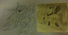 Another before and after- here's the orginal drawing (long time ago) next to the one I drew today..
