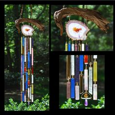 This wind chime is built around a beautiful purple and gold agate slice. Description from etsy.com. I searched for this on bing.com/images