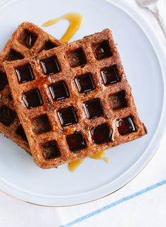 Gluten-Free Buckwheat Waffles - This simple, 100 percent buckwheat flour recipe yields light and crisp waffles that are nice and fluffy on the inside! Extra waffles freeze well for later. Coconut Flour Waffles, Buckwheat Waffles, Buckwheat Recipes, Oat Flour, Paleo Flour, Tigernut Flour, Almond Flour, Flour Recipes, Waffle Recipes