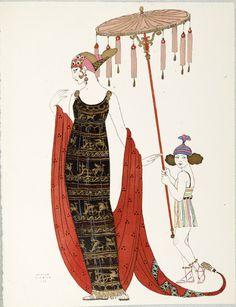 George Barbier es un ilustrador francés nacido en Nantes en el siglo XIX, el 10 de octubre de 1882 en París y que falleció el 16 de marzo de 1932, siendo uno de los más importantes ilustradores de moda del Art Decó en Francia. Poco se sabe de la vida de George, solamente que estudió en la École nationale supérieure des beaux-arts de París siendo alumno de Jean Paul Laurens. A mediados de la década de 1920 trabajó con Erté para diseñar decorados y vestuarios para el Folies Bergère y en 1929…