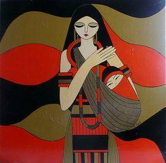 Piensa femenino: MATERNIDAD.  by Brigitte Bonnet  https://www.facebook.com/pages/Brigitte-Bonnet-Artiste-Peintre/132912306782547?fref=photo