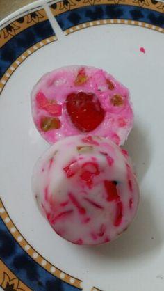 Strawberry in goat milk base...soap