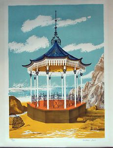 "Barbara Jones Lithograph ""Bandstand"" signed midcentury Coloured Lithograph in Art, Prints, Modern Collage Illustration, English Artists, Popular Art, Print Artist, Printmaking, 1950s, Mid Century, The Originals, School"