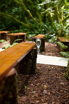 rustic wood wedding ceremony benches