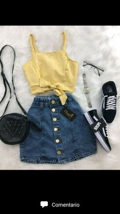 Clothes For Girls - red denim skirt - Fashion Ideas Cute Casual Outfits, Girly Outfits, Mode Outfits, Cute Summer Outfits, Stylish Outfits, Skirt Outfits, Outfits 2016, Ladies Outfits, Short Summer Dresses