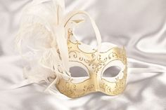 gold and white masquerade masks on a stick | Masquerade Masks - Masked Ball Mask - Venetian Masks