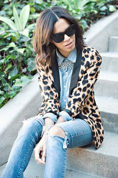 ootd, leopard blazer, denim on denim, statement necklace
