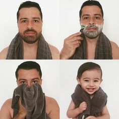 It's time for Dad to shave! Since the birth of Bê he does not make her 3 Month Old Baby Pictures, Monthly Baby Photos, Baby Boy Pictures, Newborn Baby Photos, Newborn Pictures, Maternity Pictures, Toddler Boy Photography, Newborn Baby Photography, Couple With Baby