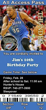 Oklahoma City Thunder Basketball Theme Birthday Party Invitations 2.5 x 6 inch Ticket Style Personalized
