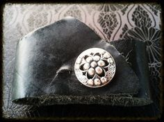 Black Leather Wrist Cuff. by ShopGoatFeathers on Etsy, $16.30