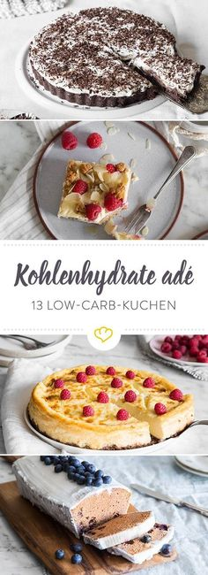 Low Carb Cake - 13 ideas for cake without carbohydrates- Low Carb Kuchen – 13 Ideen für Kuchen ohne Kohlenhydrate Baking without carbohydrates: Whether fruit cake, cheesecakes … - Low Carb Cake, Low Carb Sweets, Low Carb Desserts, Low Carb Recipes, Baking Recipes, Food Cakes, Fruit Cakes, Baking Cakes, Paleo Dessert