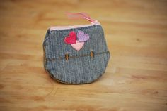 Recycled Denim Pocket change purse with pink by DevonsSweetStitch, $6.00:::So cute!! Cheaper to make one for ur little girl!!