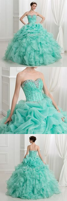 Elegant teal-ish fancy prom dress brought to you by DressV brokered by Canagrill Trading Inc. Visit my portal for amazing pricing! Quinceanera Dresses 2016, Fancy Prom Dresses, Formal Dresses, Dress Collection, Mint Green, Portal, Ruffles, Ball Gowns