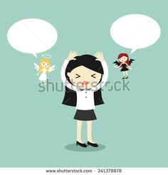 Business concept, Business woman with angel and devil and bubble speech. Vector illustration.