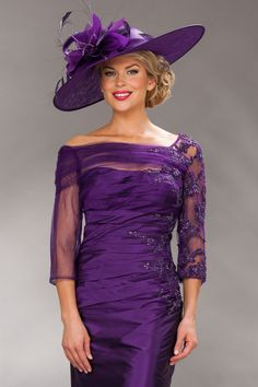 Short fitted lace dress with slash neck 8724 - Catherines of Partick