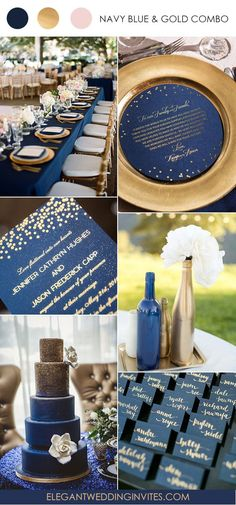 elegant gold and navy blue wedding color ideas and invitations #weddingcolors
