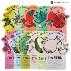 A deliciously cute set of 11 Korean face masks that is made of 100% natural pulp.
