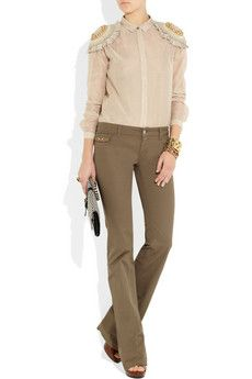 flared khaki stretch-denim jeans with neutral top