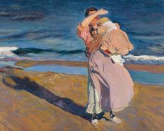 Fisherwoman with child, Valencia, by Joaquín Sorolla as fine art print. Stretched on canvas or printed as photo. We produce your artwork exactly like you wish. With or without painting frame. Spanish Painters, Spanish Artists, Figure Painting, Painting & Drawing, Bull Painting, Poesia Visual, Google Art Project, Mother And Child, Beautiful Paintings