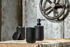 Set 3 accesorii baie din ceramica, Black, K #homedecor #interiordesign #inspiration #bathroomdecor Restroom Remodel, Home Decor Inspiration, Soap Dispenser, Small Bathroom, Interior Design, Black, Decoration, Pretty, Soap Dispenser Pump
