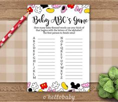 Baby ABC Baby Shower Game   Disney Theme Baby Shower Games   Disney Baby  Shower   Gender Neutral Baby Shower   005
