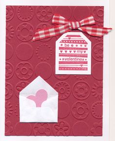 Tag stamp and punch-SU!, tiny envelop punch--McGill, heart punch-Fiskars, embossing folder-Cuttlebug