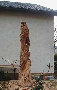 Holzeule Holzfigur Eule / Eulenbaum