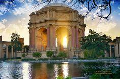 Palace of Fine Arts at Sunset - San Francisco California