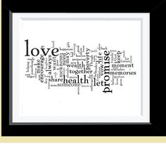 You can do this by yourself and print on paper just by using the website: wordle (Kim's Ideas) and a frame- more costomized and can choose colors of the frame and paper choice.     Custimized Wedding vows Print by amazingprints $19.00  #anniversary #wedding #gifts #decor