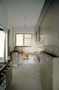 Here the Frankfurt Kitchen as reconstructed and on view at the MoMA.  Courtesy of: Stuttgarter Gesellschaft fŸr Kunst und Denkmalpflege, 2005