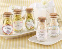 """""""Vintage"""" Personalized Milk Bottle Favor Jar (Baby) (Set of 12)"""