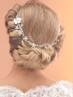 Handmade Diamante Bridal Hair Vine With Scattered Pearl Flowers by Arianna Tiaras