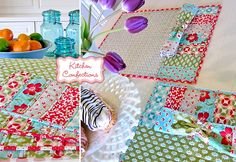Patchwork placemats made with Vintage Modern, a new fabric collection by Bonnie & Camille for Moda Fabrics. Each placemat is different for a fun eclectic mix.