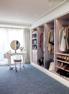 Concepts in wardrobe design. Storage ideas, hardware for wardrobes, sliding wardrobe doors, modern wardrobes, traditional armoires and walk-in wardrobes. Closet design and dressing room ideas. Dressing Room Closet, Wardrobe Closet, Closet Bedroom, Dressing Rooms, Dressing Table, Pink Closet, Open Wardrobe, Master Closet, Closet Space