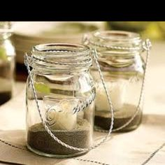 sand with candle insert mason jar center piece