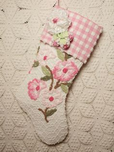 Sweet Pink Flowers Vintage Chenille Christmas Stocking with Millinery Flowers