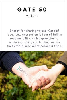 Gate 50 is in the Human Design Spleen Center. Energy for sharing values. Gate of love. Low expression is the fear of failing responsibility. High expression is nurturing, loving and holding values that create survival for the person and the tribe. Human Design System, Tool Design, Design Mandala, I Ching, Positive Affirmations, Self Help, Personal Development, Spirituality, Knowledge