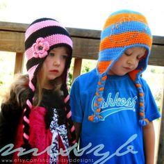 Striped Flap Hat (kid size) via Craftsy
