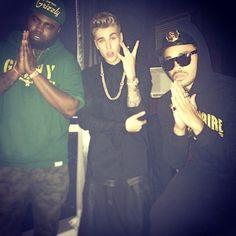 Justin Bieber in Vegas in Ashton Michael Drop Tail Shirt and Buscemi Sneakers