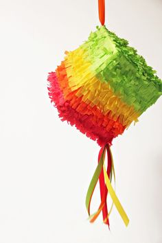 Mini Pinata DIY... use an empty kleenex box! Amazing idea! Tissue Box Crepe paper and/or crepe paper streamers Ribbon Scissors Glue Sweets and treats, of course! Kids toddlers cinco de mayo birthday favor gift