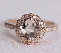 NEW DESIGN! MILGRAIN Bezel Vintage Morganite and Diamond Ring /Morganite ring/Morganite engagement ring/morganite band/morgaite wedding ring...
